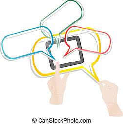 raak beschermlaag aan, smart, telefoon, verbinden, wolk, netwerk