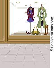 raam tentoonstelling, in, winkel