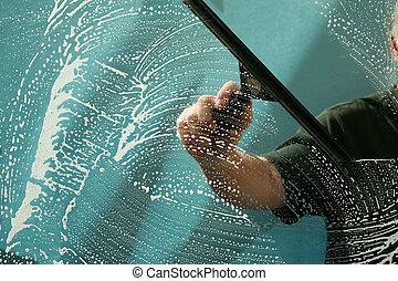 raam wassen, venster zuiverend