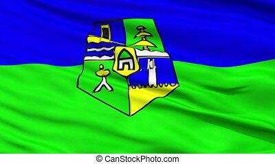 Rabat City Close Up Waving Flag