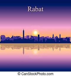 Rabat city silhouette on sunset background