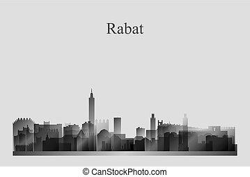 Rabat city skyline silhouette in grayscale
