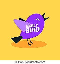 rabat, prodej, časný, vektor, ptáček, icon., firma, speciální, ikona, nabídnout, promo, prapor, karikatura