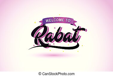 Rabat Welcome to Creative Text Handwritten Font with Purple Pink Colors Design.