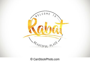 Rabat Welcome To Word Text with Handwritten Font and Golden Texture Design.