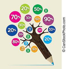 rabatt, begrepp, träd, blyertspenna
