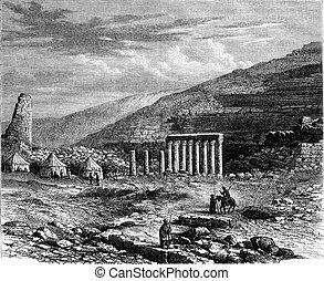 Rabbath Ammon, Ruins of big theater, vintage engraving. -...