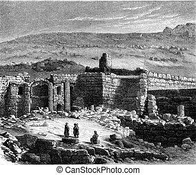 Rabbath Ammon, ruins, vintage engraving. - Rabbath Ammon,...