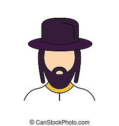 Rabbi icon, cartoon style - Rabbi icon. Cartoon rabbi vector...