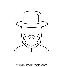 Rabbi icon, outline style - Rabbi icon. Outline rabbi vector...