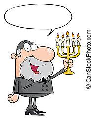 Rabbi Man Holding Up A Menorah, With A Word Balloon