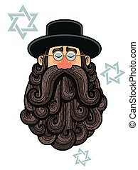 Rabbi Portrait - Cartoon Illustration of rabbi with big...