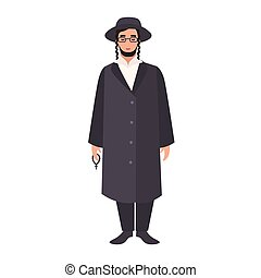 Rabbi with payot wearing traditional clothes and hat. Jewish...