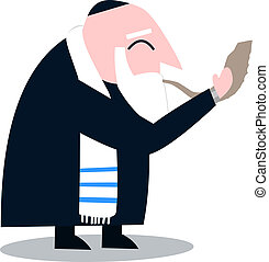 Rabbi With Talit Blows The Shofar - Vector illustration of a...