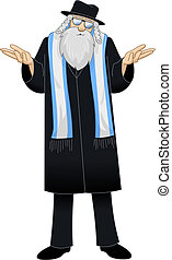 Rabbi With Talit Is Unsure - Vector illustration of a Rabbi...