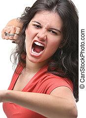 rabbia, femmina, giovane, lei, esprimere