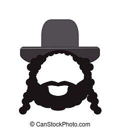 rabbin, isolé, icône
