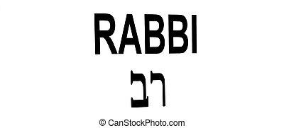 rabbino, leggere, ebraico, segno, inglese