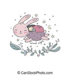 rabbit., 女の子, 睡眠