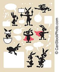 Rabbit activity cartoon silhouettes