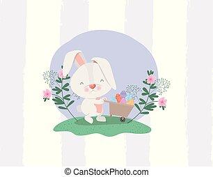 rabbit and egg in wheelbarrow