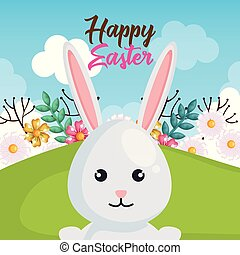 rabbit and flowers easter celebration poster