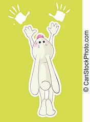 Rabbit and his handprints - Rabbit and his handprints....