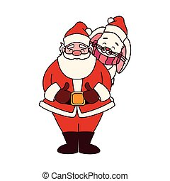 rabbit and santa claus with hat of christmas in white background