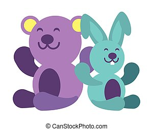 rabbit and teddy bear on white background, baby toys