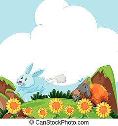 Rabbit and turtle running in the field