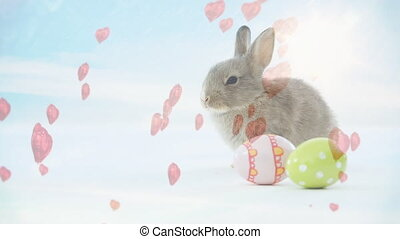 Rabbit animation with little pink heart and Easter eggs