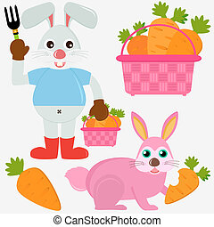 Rabbit Bunny with Carrots