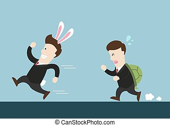 rabbit businessman and turtle one