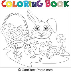 Rabbit carrying a decorated Easter egg