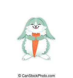 Rabbit cartoon eating a carrot. Funny bunny. Cute hare....