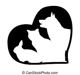 rabbit, cat, dog on the background of hearts