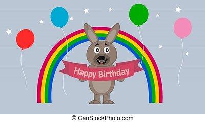 rabbit celebrating a birthday - animation