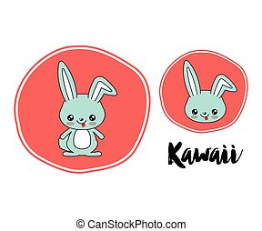 rabbit character kawaii style isolated icon design