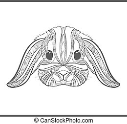 Rabbit coloring outlines in boho style. Ethnic hare - Rabbit...