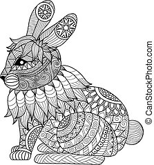 Rabbit coloring page - Clean lines doodle art design of...