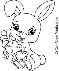 Rabbit coloring page - Small lovely rabbit holds carrot,...