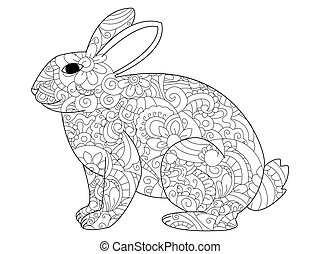 Rabbit coloring vector for adults - Vector illustration of...
