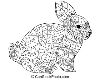 Rabbit Coloring vector for adults