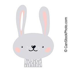 Rabbit cute animal baby face vector illustration. Hand drawn style nursery character. Scandinavian funny kid design