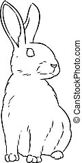Rabbit cute doodle hand drawn lineart sketch