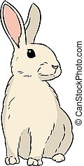 Rabbit cute hand drawn lineart isolated doodle