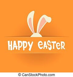 Rabbit Ears Bunny Happy Easter Holiday Banner Greeting Card Orange Background