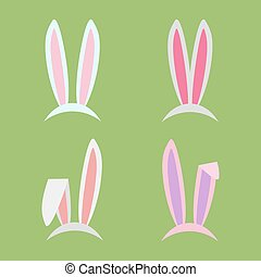 Rabbit ears collection for Easter. Set of masks in flat style isolated on white background. Vector, EPS10.