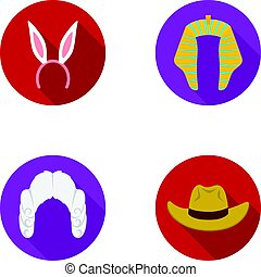 Rabbit ears, judge wig, cowboy. Hats set collection icons in flat style vector symbol stock illustration web.