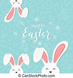 Rabbit ears on blue background with pattern and text Happy Easter